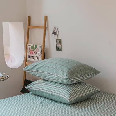 2021款无印风格良品四件套格子AB板色织水洗棉系列—单枕套/抱枕套 枕套48cmX74cm/对 海蓝格B