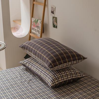 2021款无印风格良品四件套格子AB板色织水洗棉系列—单枕套/抱枕套 枕套48cmX74cm/对 灰黄格A