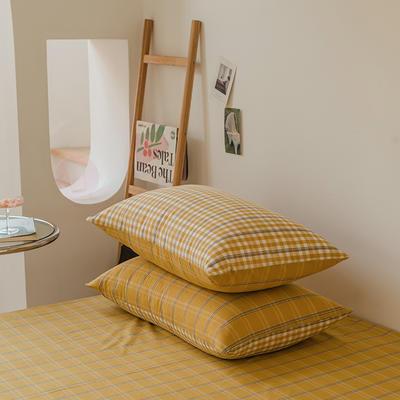 2021款无印风格良品四件套格子AB板色织水洗棉系列—单枕套/抱枕套 枕套48cmX74cm/对 姜黄格B
