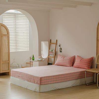 2021款无印风格良品四件套格子AB板色织水洗棉系列—单床笠 150cmx200cm 粉灰格A