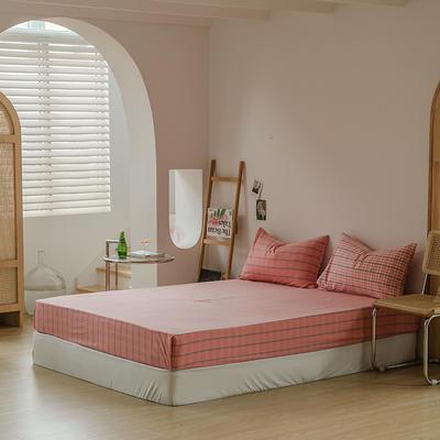 2021款无印风格良品四件套格子AB板色织水洗棉系列—单床笠 150cmx200cm 粉灰格B