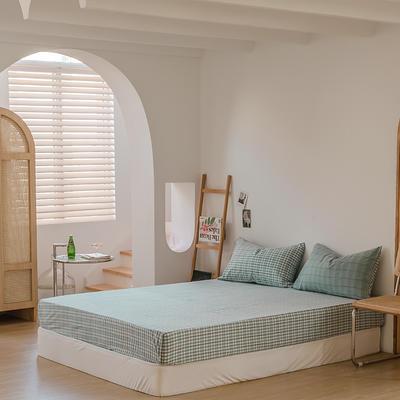 2021款无印风格良品四件套格子AB板色织水洗棉系列—单床笠 150cmx200cm 海蓝格A