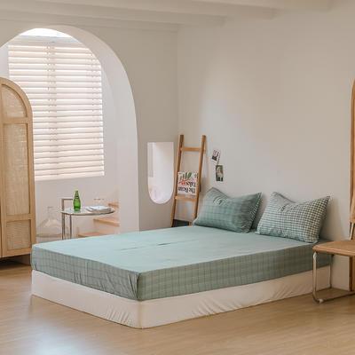 2021款无印风格良品四件套格子AB板色织水洗棉系列—单床笠 150cmx200cm 海蓝格B