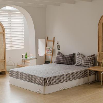 2021款无印风格良品四件套格子AB板色织水洗棉系列—单床笠 150cmx200cm 灰黄格A