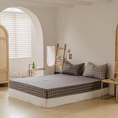 2021款无印风格良品四件套格子AB板色织水洗棉系列—单床笠 150cmx200cm 灰黄格B