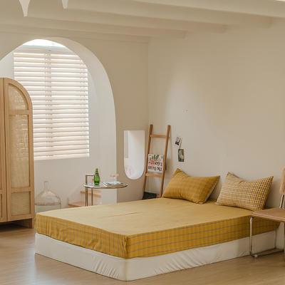 2021款无印风格良品四件套格子AB板色织水洗棉系列—单床笠 150cmx200cm 姜黄格B