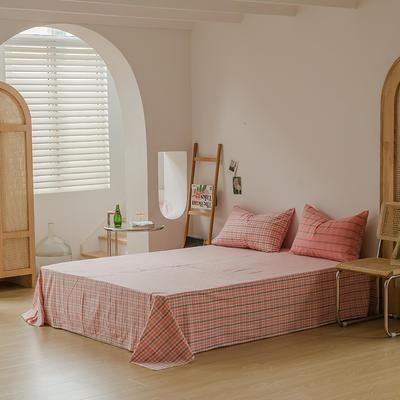 2021款无印风格良品四件套格子AB板色织水洗棉系列—单床单 240cmx250cm 粉灰格A