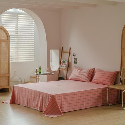 2021款无印风格良品四件套格子AB板色织水洗棉系列—单床单 240cmx250cm 粉灰格B
