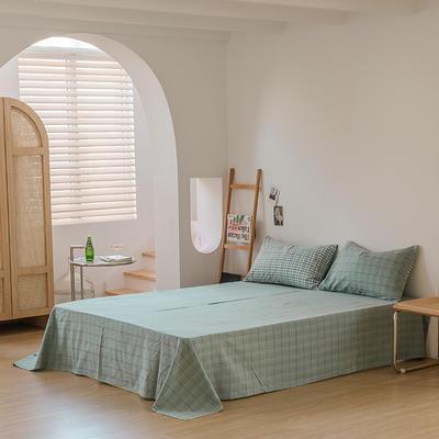 2021款无印风格良品四件套格子AB板色织水洗棉系列—单床单 240cmx250cm 海蓝格B