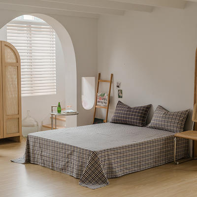 2021款无印风格良品四件套格子AB板色织水洗棉系列—单床单 240cmx250cm 灰黄格A