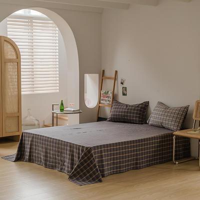 2021款无印风格良品四件套格子AB板色织水洗棉系列—单床单 240cmx250cm 灰黄格B
