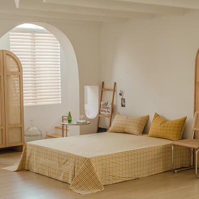 2021款无印风格良品四件套格子AB板色织水洗棉系列—单床单 240cmx250cm 姜黄格A