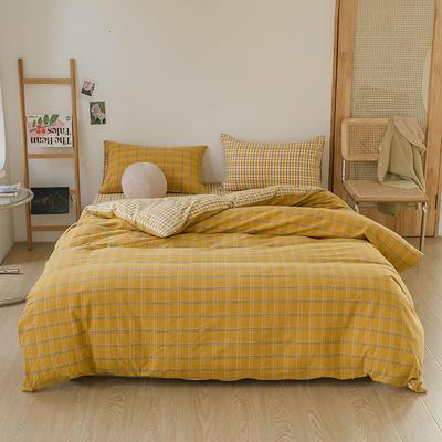 2021款无印风格良品四件套格子AB板色织水洗棉系列—四件套 1.5m床单款四件套 姜黄格A