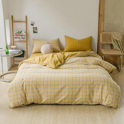 2021款无印风格良品四件套格子AB板色织水洗棉系列—四件套 1.5m床单款四件套 姜黄格B