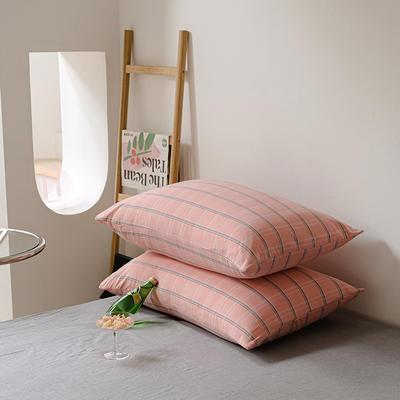 2021年无印风格良品四件套色织水洗棉—单枕套/抱枕套 枕套48cmX74cm/对 粉灰格