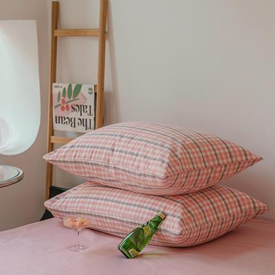 2021年无印风格良品四件套色织水洗棉—单枕套/抱枕套 枕套48cmX74cm/对 粉灰小格