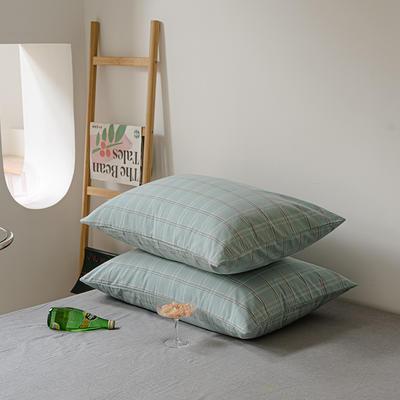 2021年无印风格良品四件套色织水洗棉—单枕套/抱枕套 枕套48cmX74cm/对 海蓝格