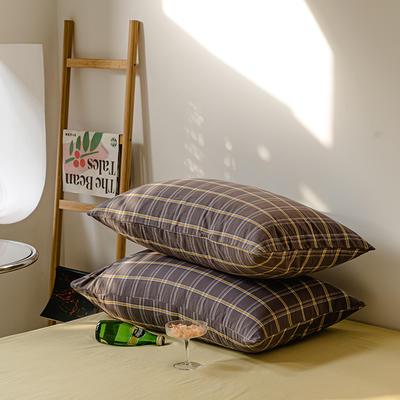 2021年无印风格良品四件套色织水洗棉—单枕套/抱枕套 枕套48cmX74cm/对 灰黄格