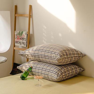 2021年无印风格良品四件套色织水洗棉—单枕套/抱枕套 枕套48cmX74cm/对 灰黄小格