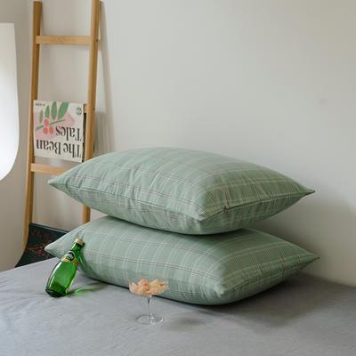 2021年无印风格良品四件套色织水洗棉—单枕套/抱枕套 枕套48cmX74cm/对 叶绿格
