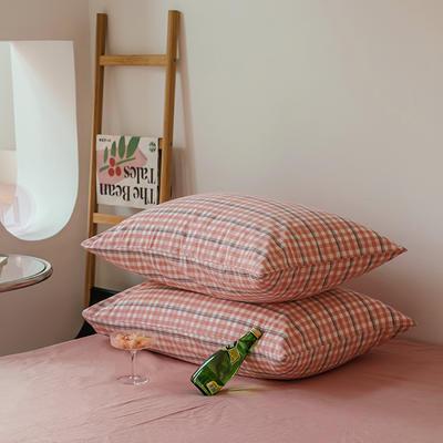 2021年无印风格良品四件套色织水洗棉—单枕套/抱枕套 枕套48cmX74cm/对 砖红小格