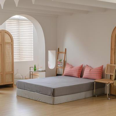 2021年无印风格良品四件套色织水洗棉—单床笠 150cmx200cm 冷灰