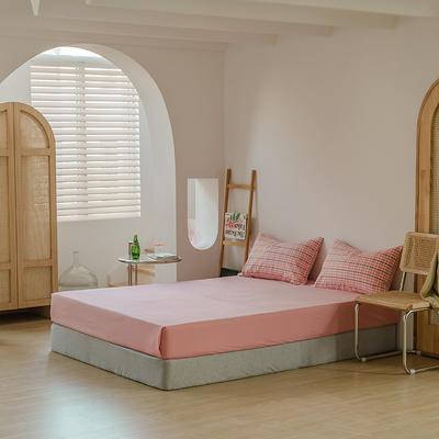 2021年无印风格良品四件套色织水洗棉—单床笠 150cmx200cm 粉色