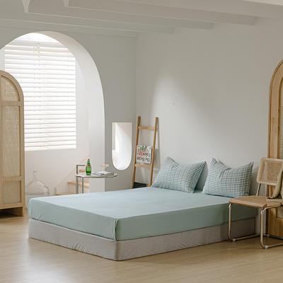 2021年无印风格良品四件套色织水洗棉—单床笠 150cmx200cm 浅绿