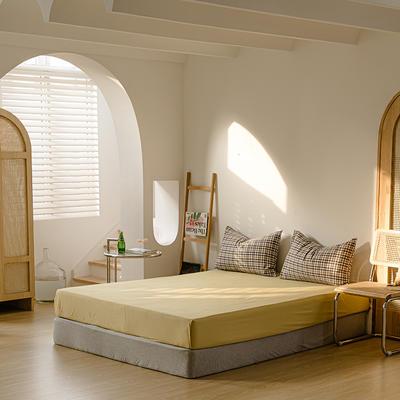2021年无印风格良品四件套色织水洗棉—单床笠 150cmx200cm 姜黄色