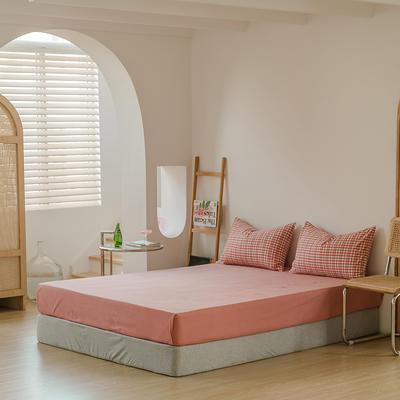 2021年无印风格良品四件套色织水洗棉—单床笠 150cmx200cm 红棕色