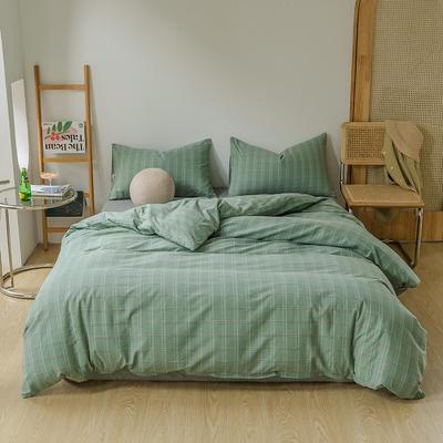 2021年无印风格良品四件套色织水洗棉—单被套 160x210cm 叶绿格