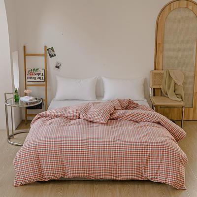 2021年无印风格良品四件套色织水洗棉—单被套 160x210cm 砖红小格
