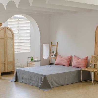 2021年无印风格良品四件套色织水洗棉—单床单 240cmx250cm 粉灰格