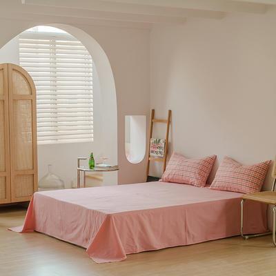 2021年无印风格良品四件套色织水洗棉—单床单 240cmx250cm 粉灰小格