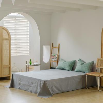 2021年无印风格良品四件套色织水洗棉—单床单 240cmx250cm 海蓝格
