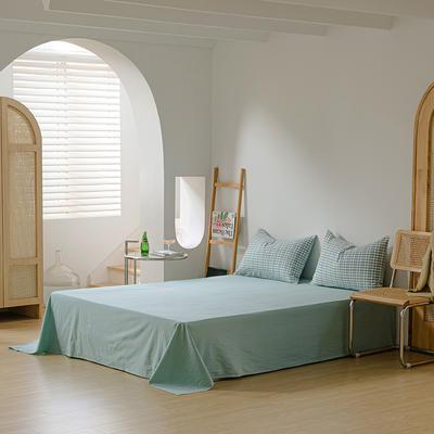 2021年无印风格良品四件套色织水洗棉—单床单 240cmx250cm 海蓝小格