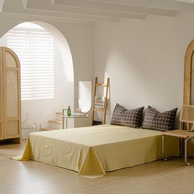 2021年无印风格良品四件套色织水洗棉—单床单 240cmx250cm 灰黄格