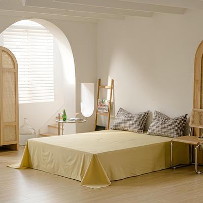 2021年无印风格良品四件套色织水洗棉—单床单 240cmx250cm 灰黄小格
