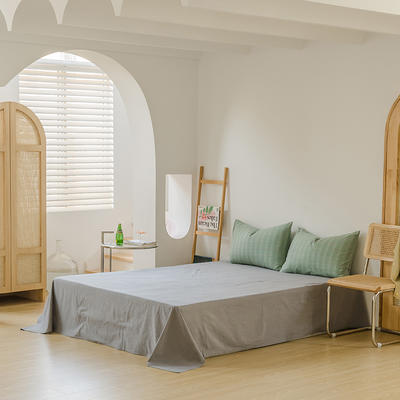 2021年无印风格良品四件套色织水洗棉—单床单 240cmx250cm 叶绿格