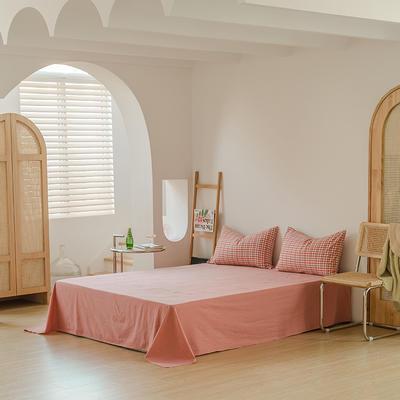 2021年无印风格良品四件套色织水洗棉—单床单 240cmx250cm 砖红小格
