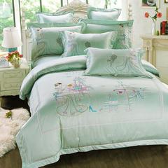 新品婚庆天丝提花+刺绣四件套6件套 1.5m-1.8m床 相思绿六件套