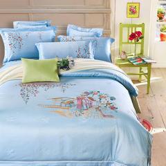 新品婚庆天丝提花+刺绣四件套6件套 1.5m-1.8m床 幸福蓝四件套