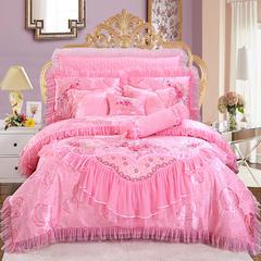 新品蕾丝绣花 佳人有约 1.5m床 佳人有约粉色单床裙十件套