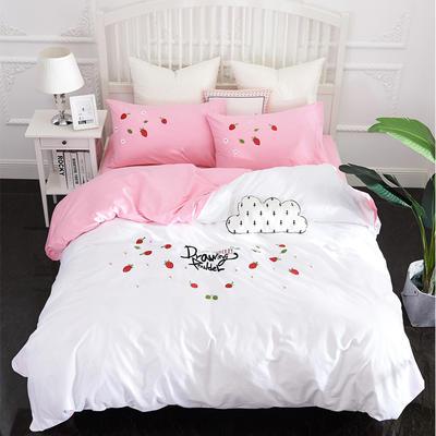 2019新款13372全棉立体贴布绣花四件套 1.2m(4英尺)床 缤纷草莓-白