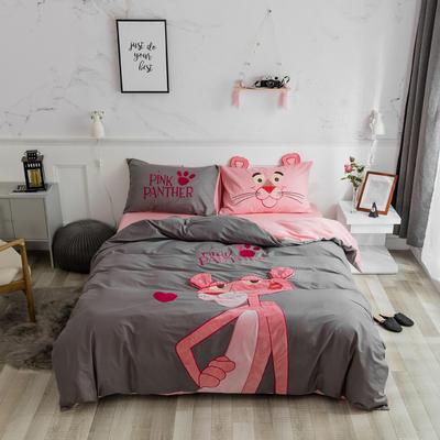 2019新款13376全棉绣花工艺四件套 婴童床三件套 粉红豹