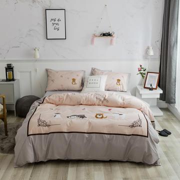 2018新款13376全棉绣花工艺四件套 婴童床三件套 顽皮起司猫