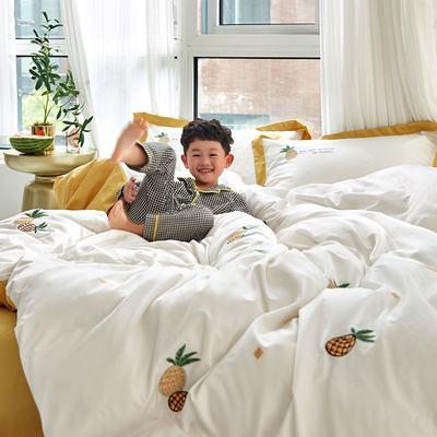 2019新款60s长绒棉四件套 1.5m(床单款四件套) 菠萝白