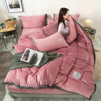 2019新款北欧风水晶绒四件套 1.2m(4英尺)床单款三件套 豆沙