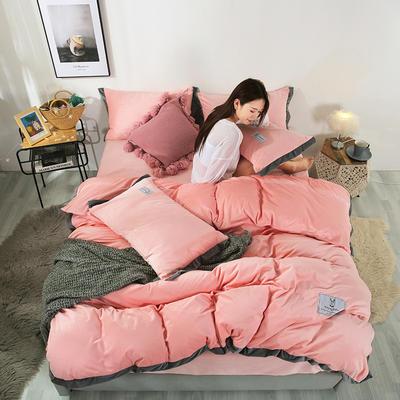 2019新款北欧风水晶绒四件套 1.2m(4英尺)床单款三件套 粉玉