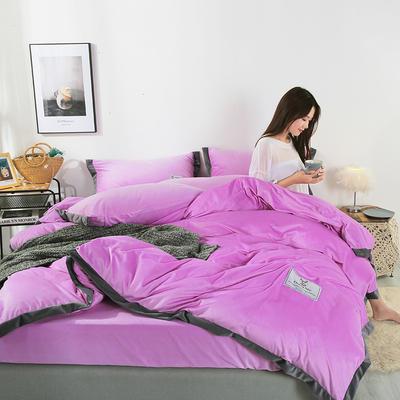 2019新款北欧风水晶绒四件套 1.2m(4英尺)床单款三件套 粉紫
